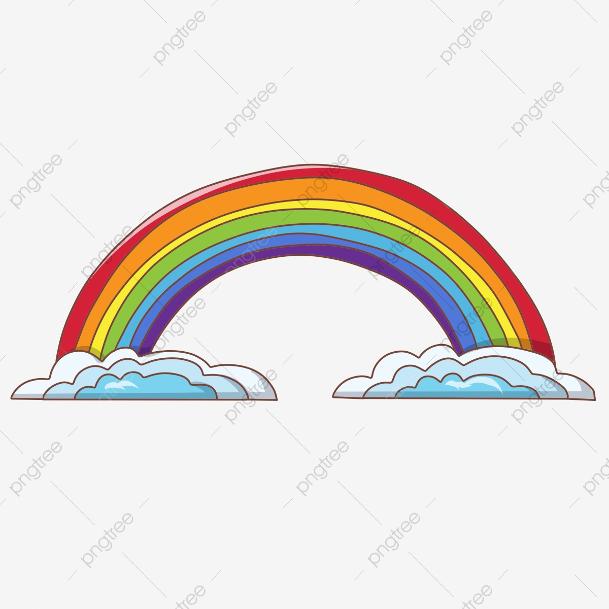 Cartoon Rainbow Illustration Drawing Rainbow Lines Blue Clouds Clouds Png Transparent Clipart Image And Psd File For Free Download