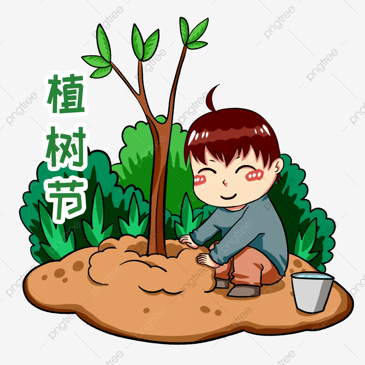 يوم الشجرة التوضيح الطابع غرس الأشجار الطفل الأخضر الديكور مصنع رقة التربة الصفراء الشخصيات الكرتونية طفل يزرع شجرة شجرة في يوم الشجرة التوضيح الطابع غرس الأشجار الطفل