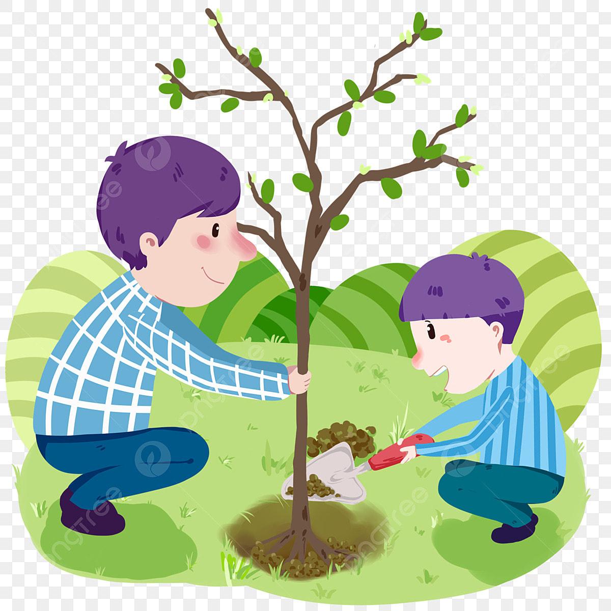 يوم الشجرة رسم توضيحي للشخص طفل يزرع الأشجار مجرفة رمادية أوراق خضراء طفل في الشجرة Png وملف Psd للتحميل مجانا