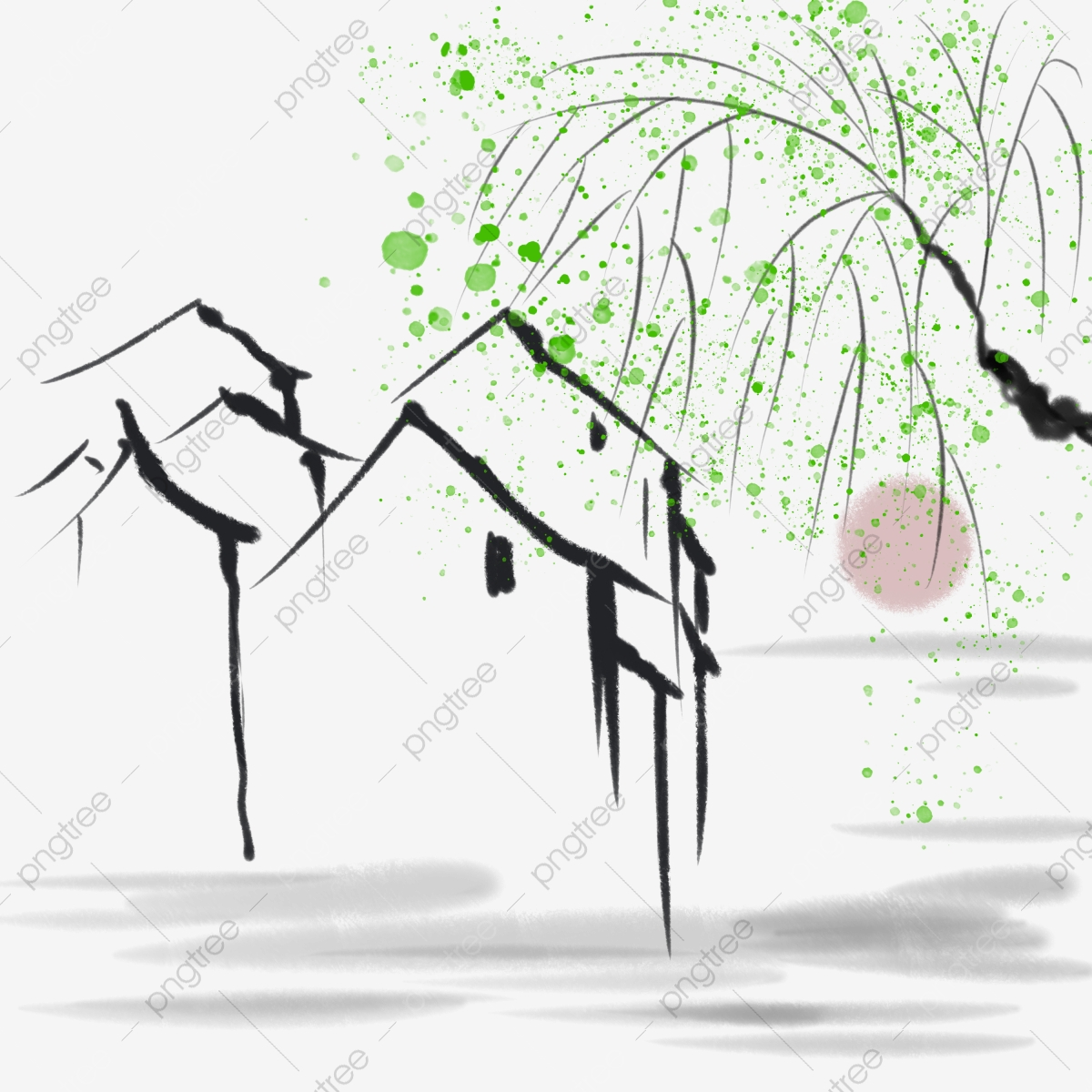 Chinese Style Ink Willow Tree Family Ink National Style Willow Png Transparent Clipart Image And Psd File For Free Download
