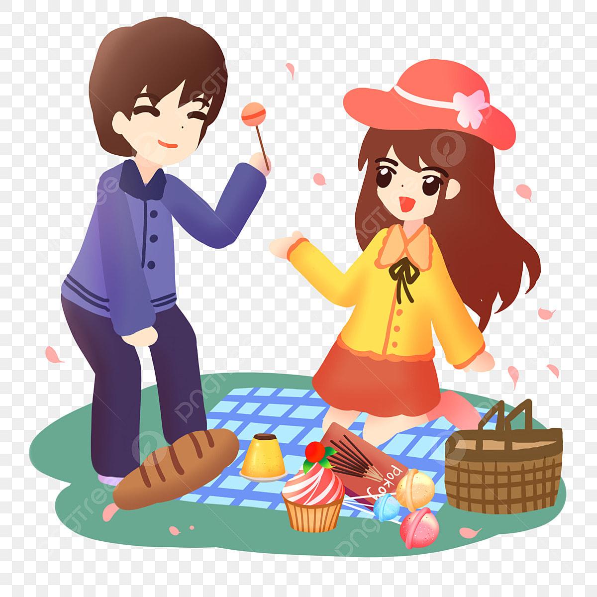 Musim Bunga Pasangan Kekasih Pencuci Mulut Puding Musim