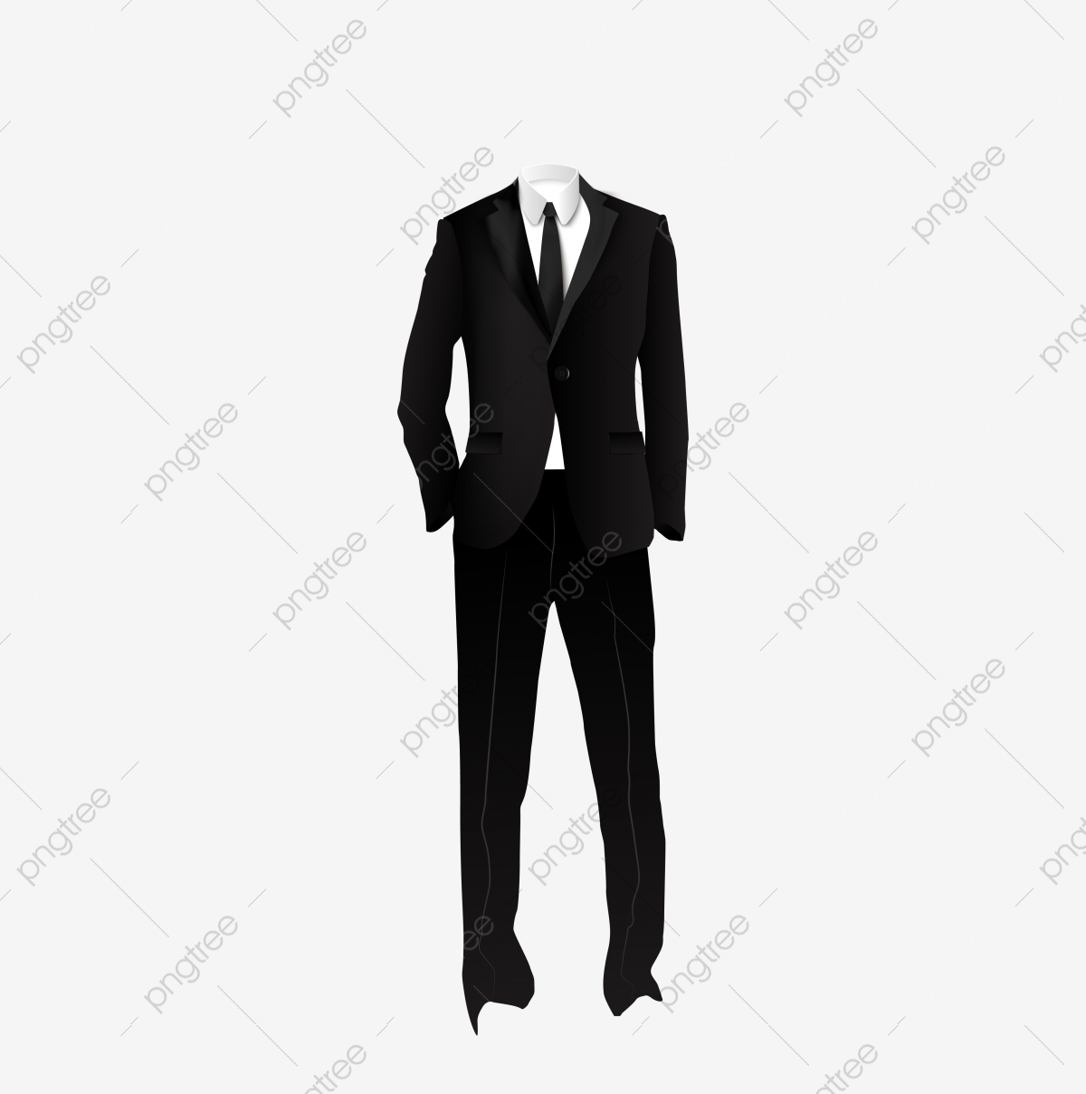Free Cartoon Black Suit, Colorful Tie, White Shirt, Yellow