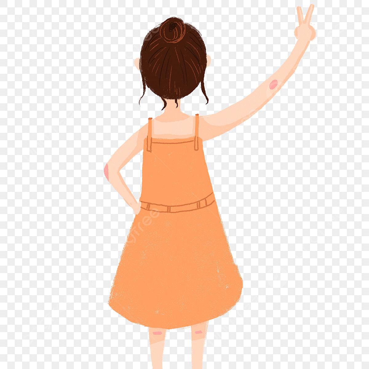 فتاة ظهر شخصية للرسوم المتحركة شخصية مرسومة باليد رفعت فتاة