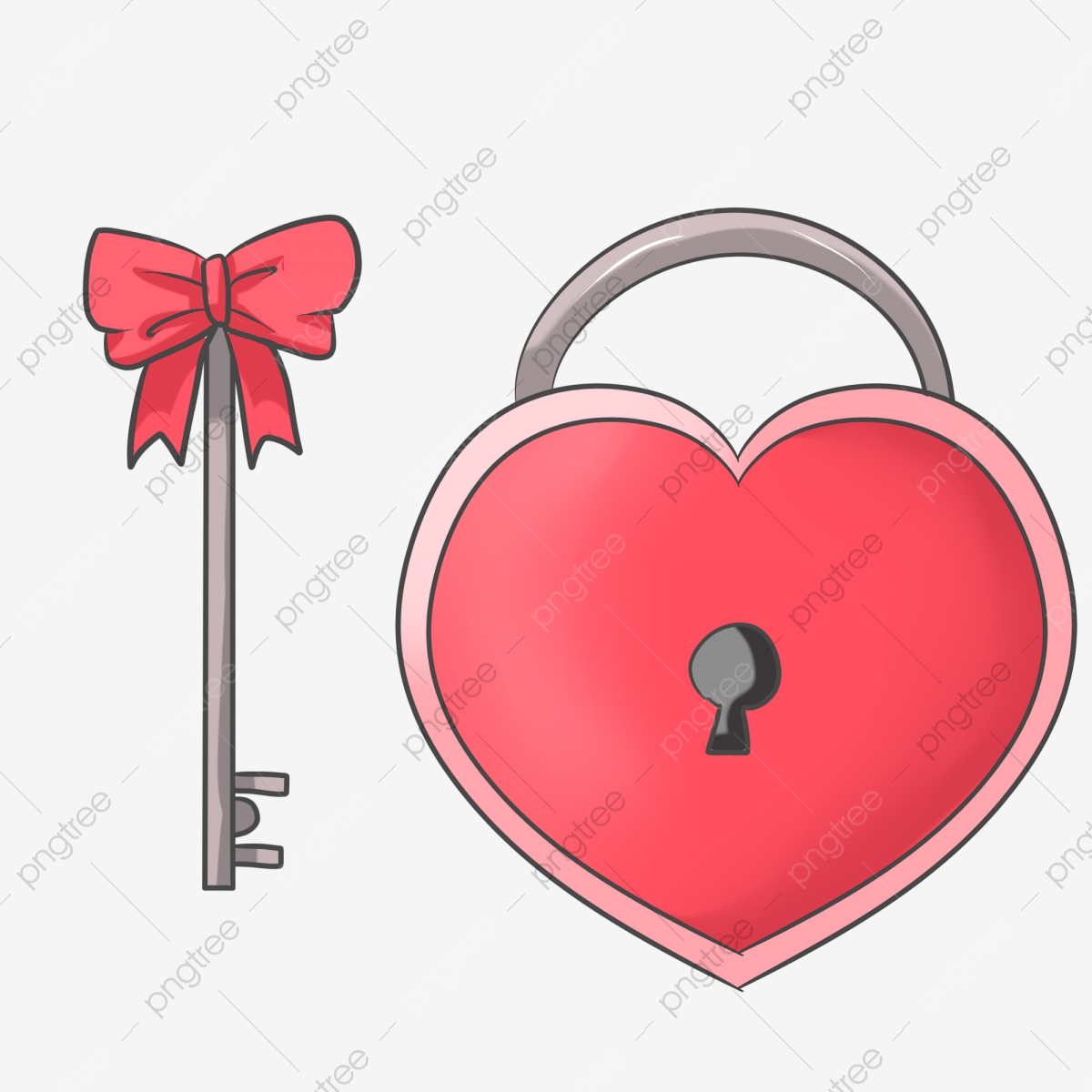 قفل على شكل قلب رسم كاريكاتوري رسم مرسوم باليد قفل مفتاح مفتاح أحمر رسم مرسوم باليد رسم كاريكاتوري Png وملف Psd للتحميل مجانا