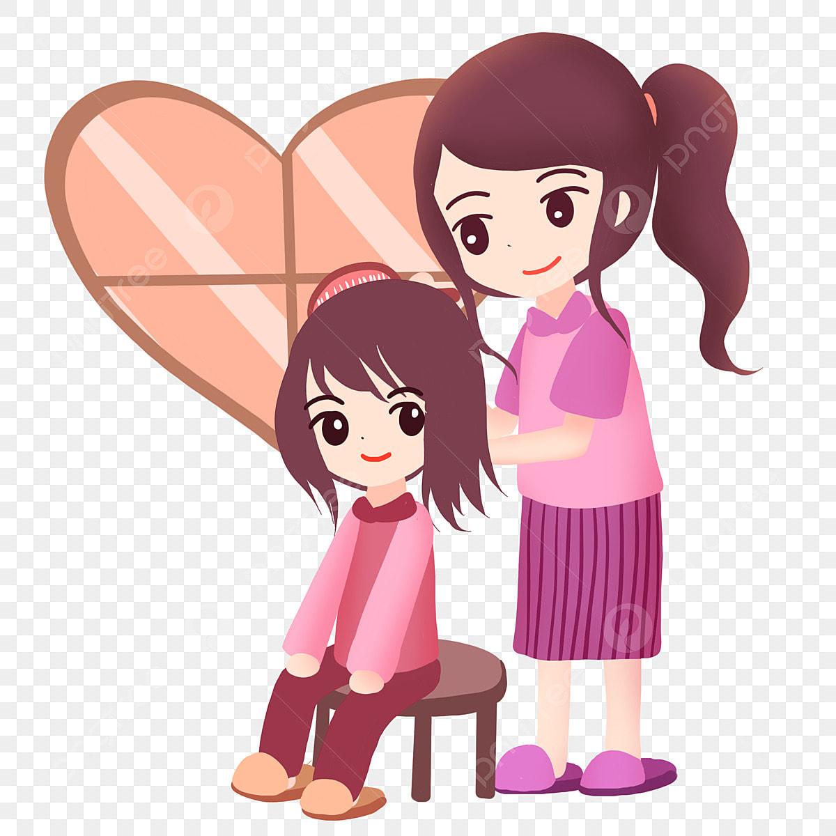 Gambar Ibu Yang Baik Cinta Anak Perempuan Menyikat Rambut Penyayang Anak Cinta Ibu Png Dan Psd Untuk Muat Turun Percuma