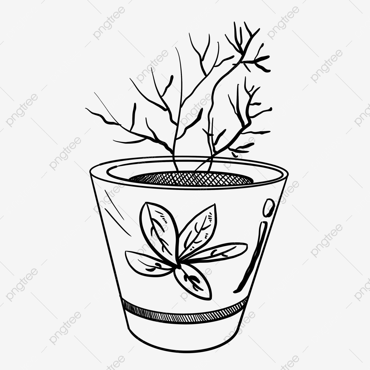 Line Drawing Potted Plant Ilration