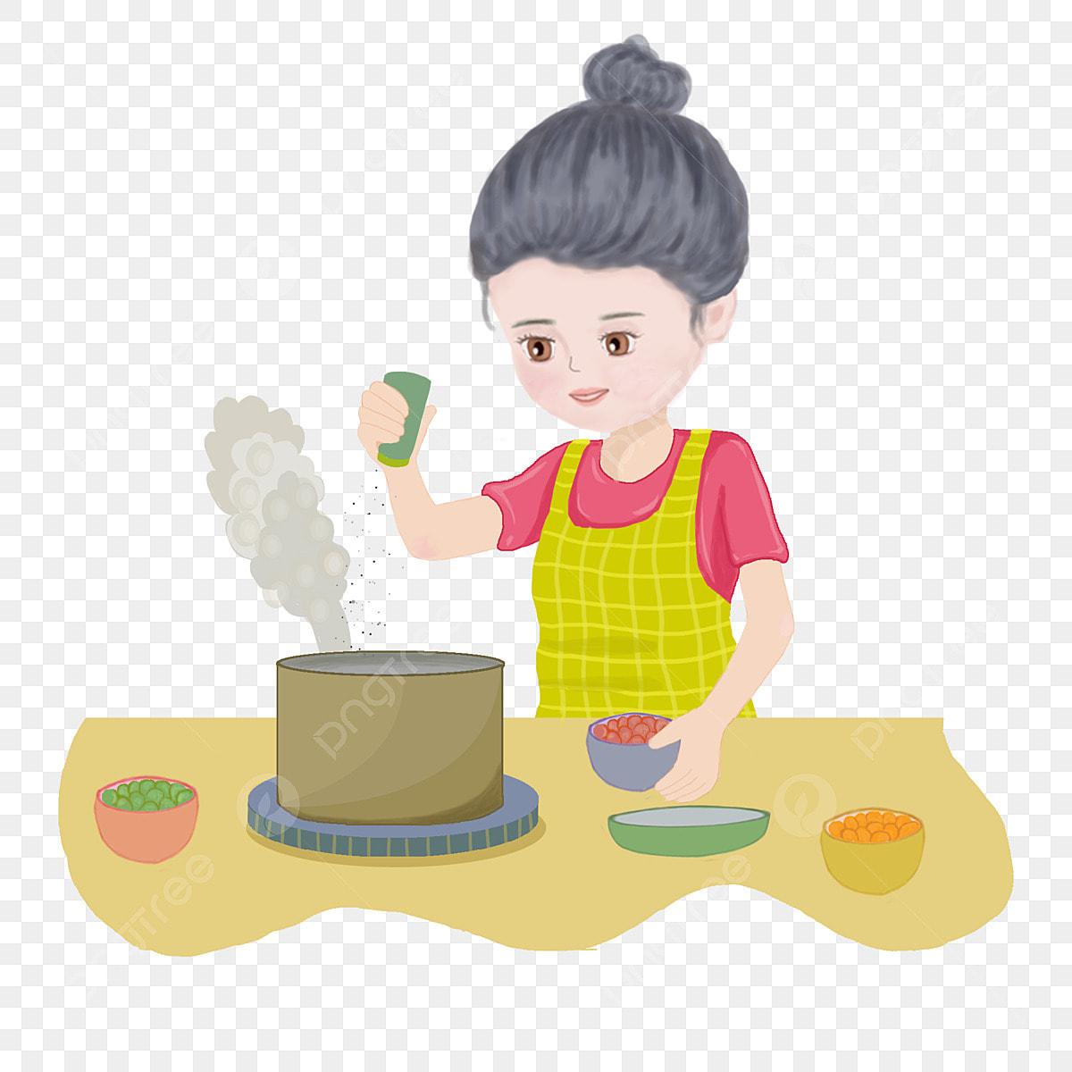 Gambar Tangan Kartun Ditarik Ibu Hari Ibu Hari Wanita Di Ibu Memasak Di Dapur Ibu Png Dan Psd Untuk Muat Turun Percuma