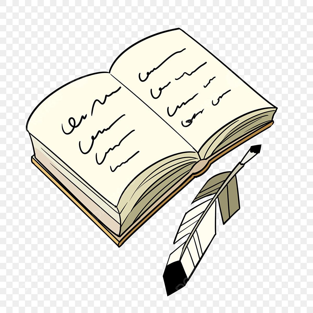 كتاب مفتوح ريشة القلم التوضيح كتاب مفتوح كتاب رسوم متحركة قلم ريشة Png وملف Psd للتحميل مجانا