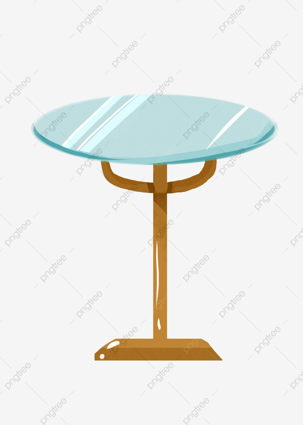 Round Glass Small Table Illustration Round Small Table Blue