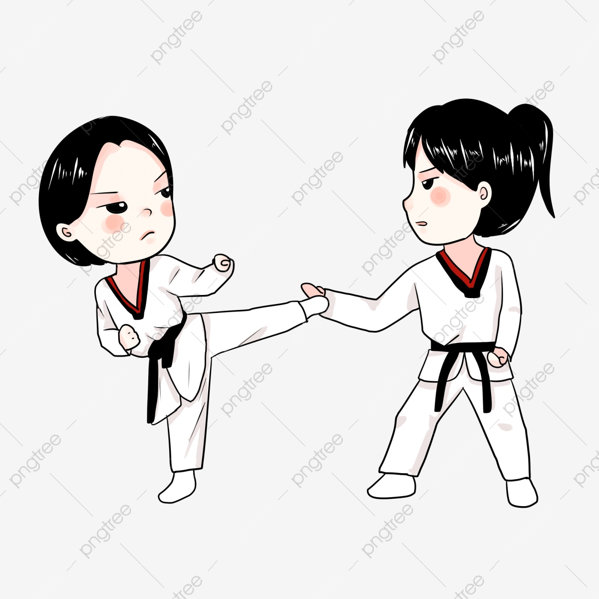 Taekwondo Hand Painted Cartoon Meng Q Version Anime Girl Girls Attack Taekwondo Training Classes Hand Painted Characters Png Transparent Clipart Image And Psd File For Free Download