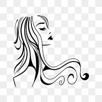 cartoon black roll long hair woman side face illustration, Black, Curly Hair, Long Hair PNG and PSD