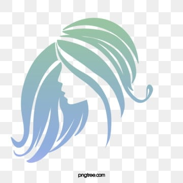hand drawn roll long hair woman side face illustration, Blue, Curly Hair, Long Hair PNG and PSD