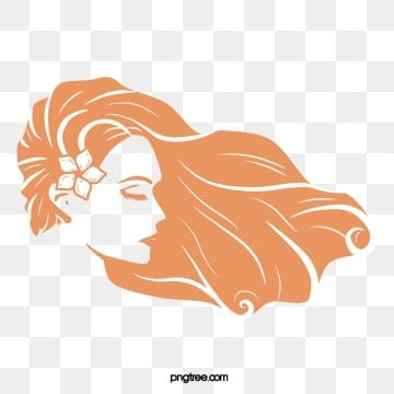 orange long curly hair woman face, Long Hair, Curly Hair, Monochrome PNG and PSD