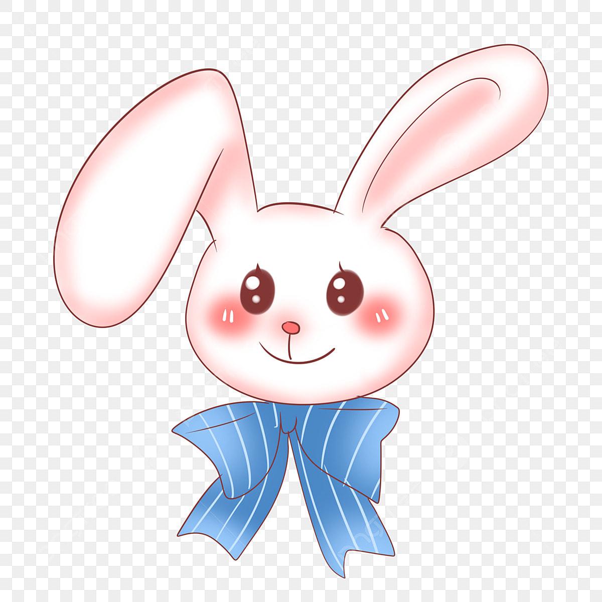 Lapin De Dessin Anime Grand Arc Bleu Sourire De Lapin Grands Yeux