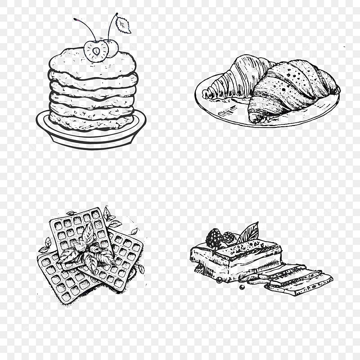 Croissant Kue Wafel Hitam Dan Putih Binatang Sketsa Garis Lukisan