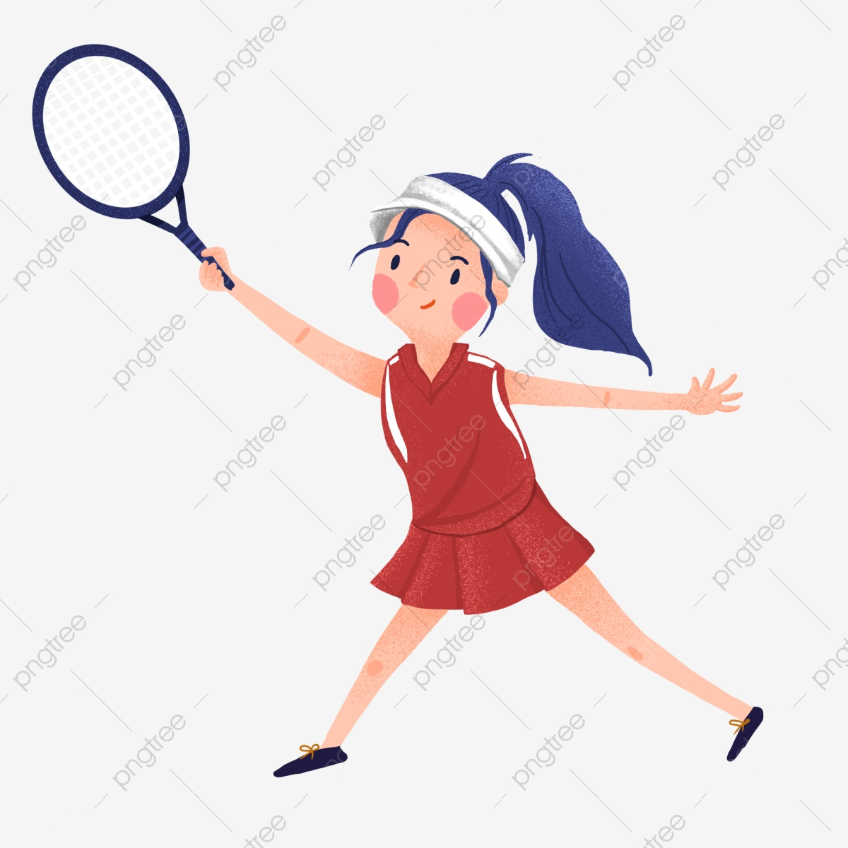 Cute Girl Playing Badminton Cartoon Of Red Clothes Girls Girls