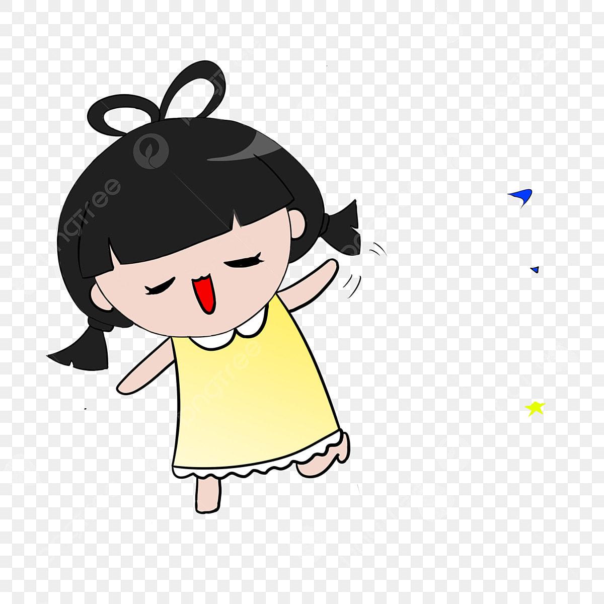 Gadis Kecil El Pakaian Kuning El Sedikit Gadis Kartun