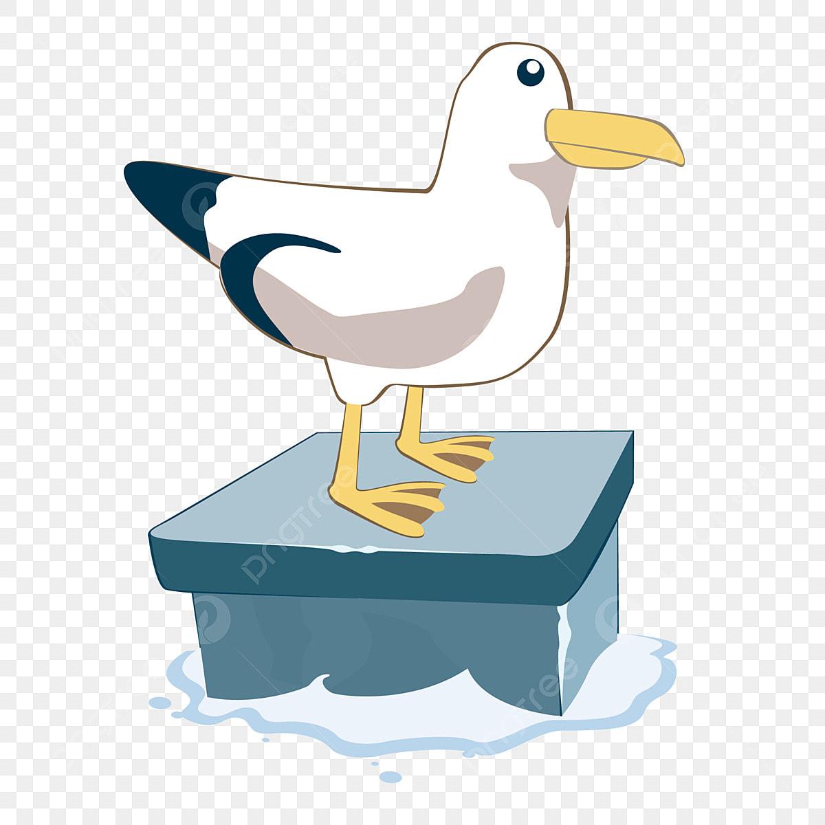 Burung Camar Kecil Burung Tepi Laut Tangan Kartun Yang