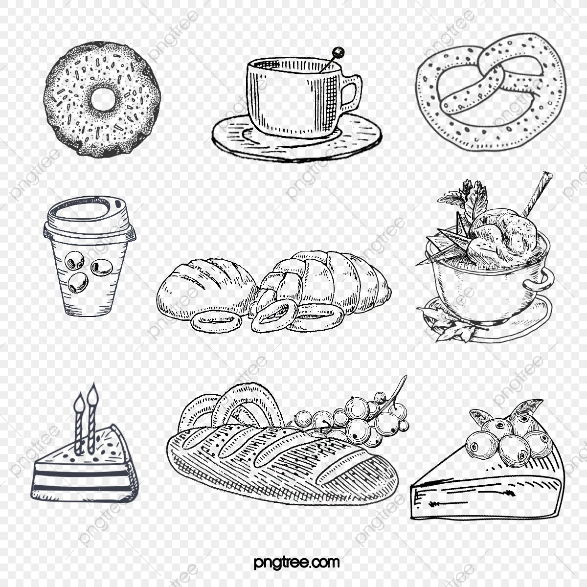 Hand Drawn Black And White Sketch Line Sketching Elements