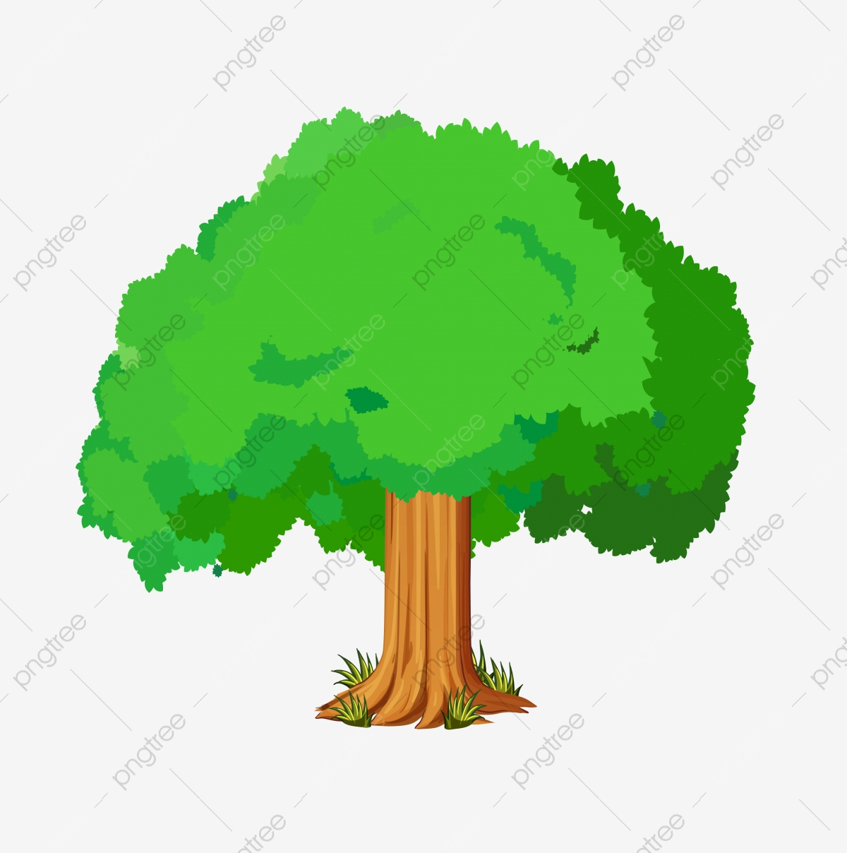 Hand Drawn Cartoon Tree Green Germination Small Tree Big Tree Png And Vector With Transparent Background For Free Download