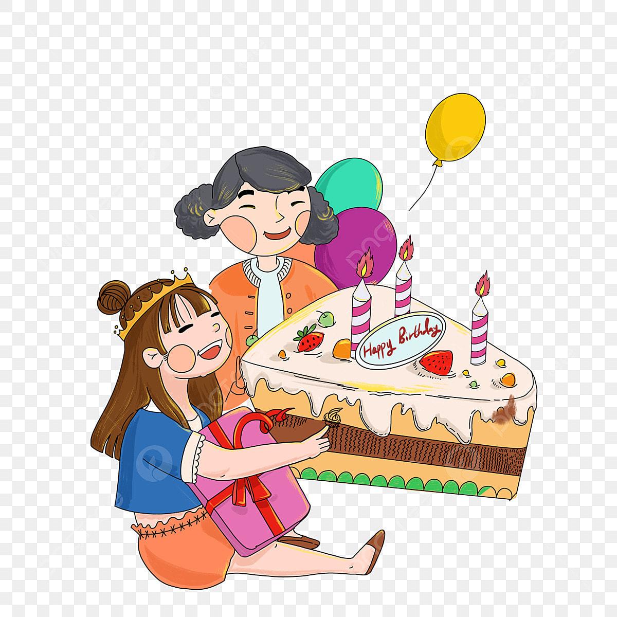 Gâteau D Anniversaire Ballons Colorés Belle Fille Fille De