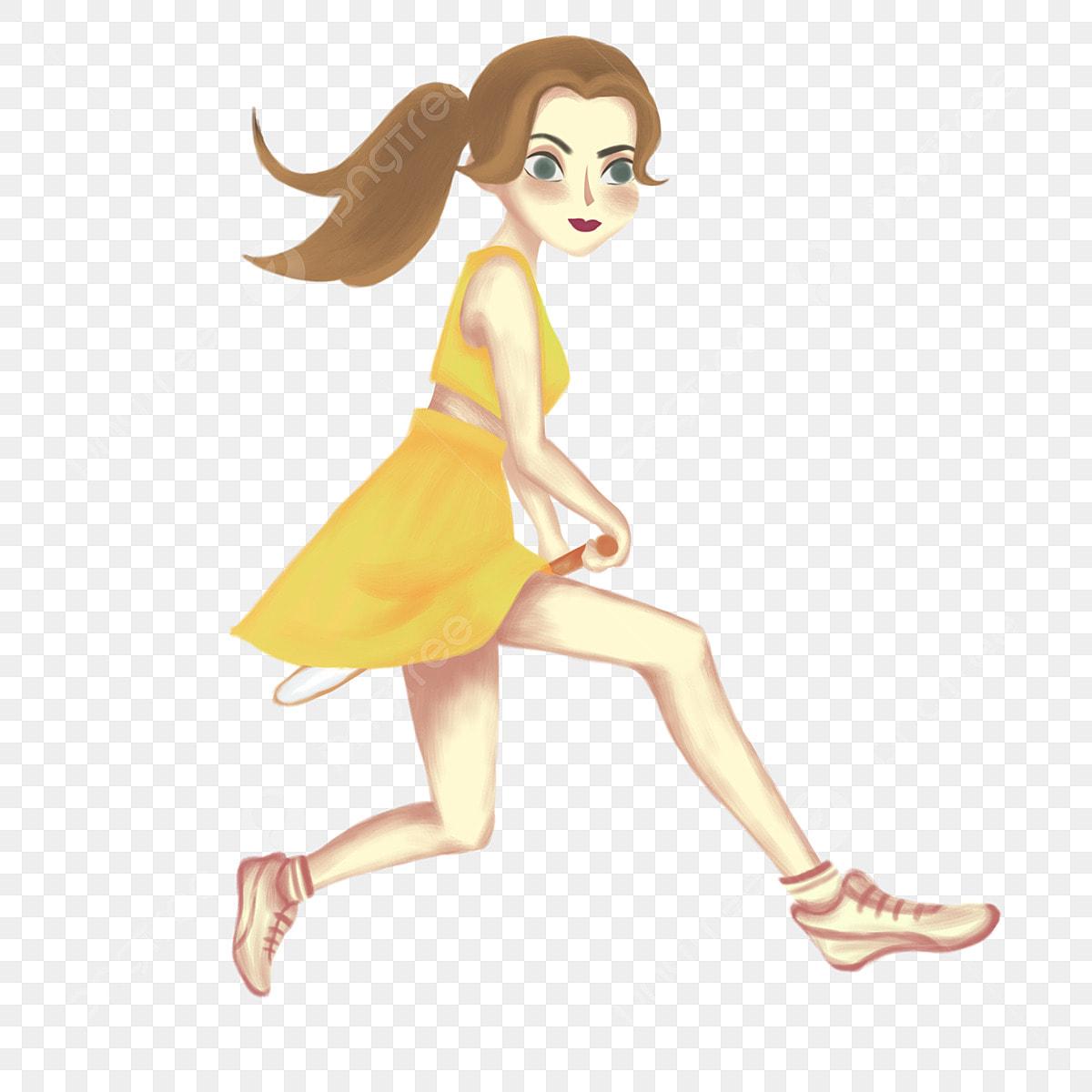 Kartun Pelacur Pakaian Kuning Kecantikan Pelacur Pakaian