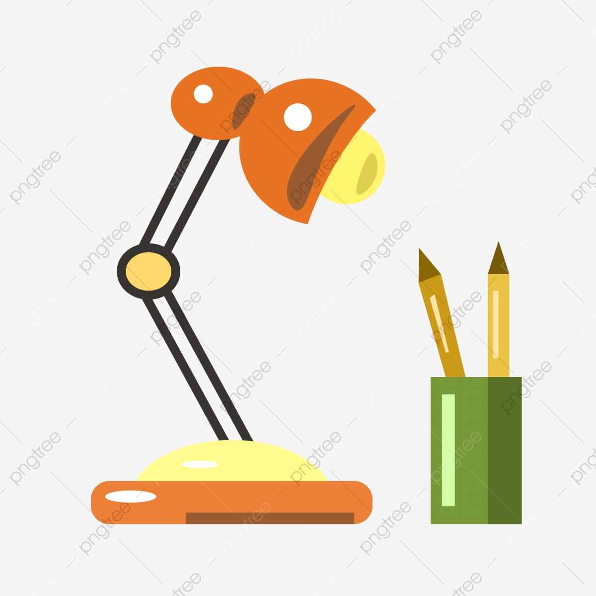 Red Desk Lamp Table Lamp Red Pen Holder Png And Vector With Transparent Background For Free Download