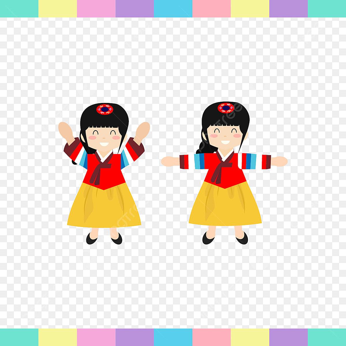 Katakan Hai Gadis Kecil Korea Pakaian Asia Asia Musim