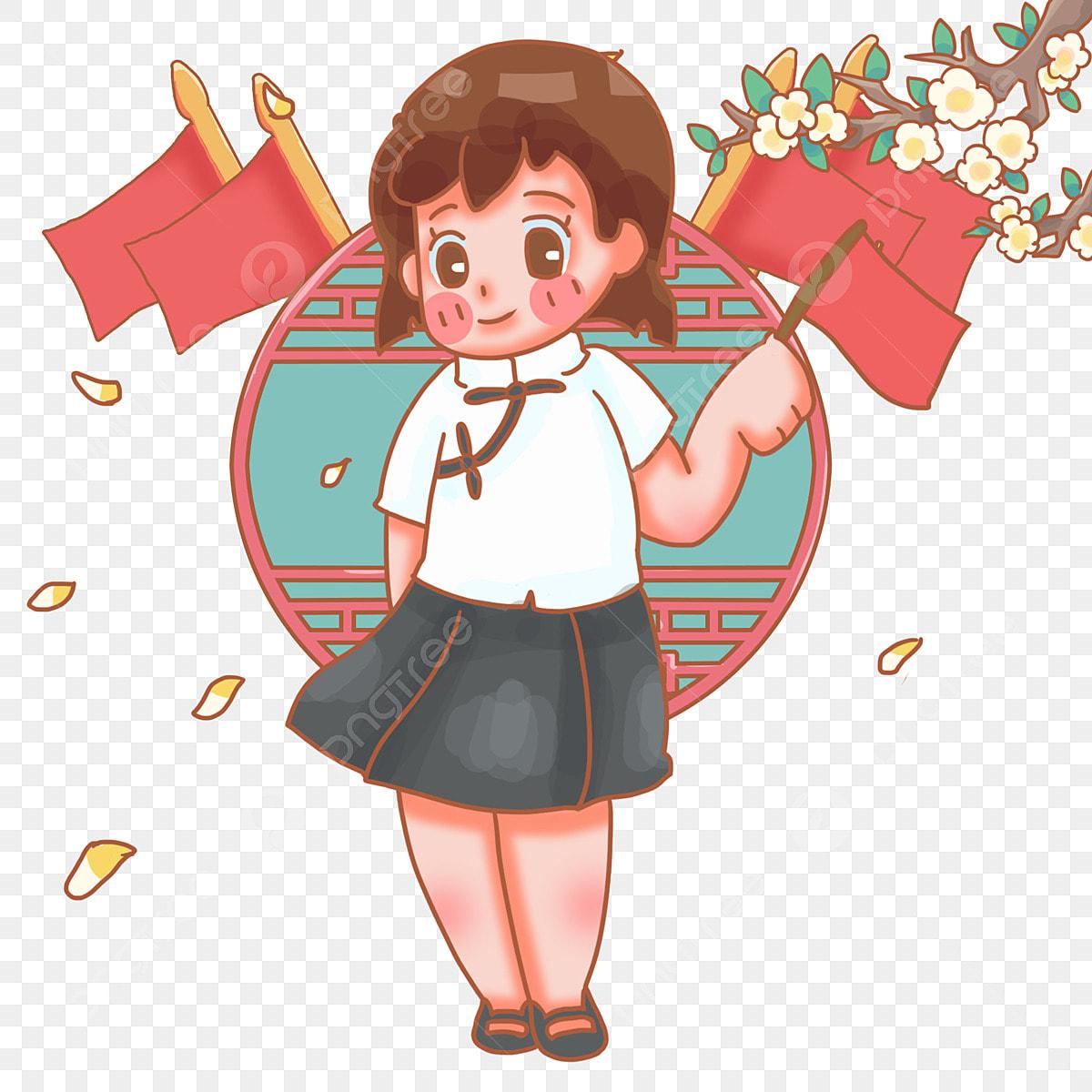Gambar Tangan Memegang Bendera Merah Seragam Sekolah Putih Rambut Pendek Mei 4 Rambut Pendek Kartun Bunga Jatuh Png Dan Psd Untuk Muat Turun Percuma