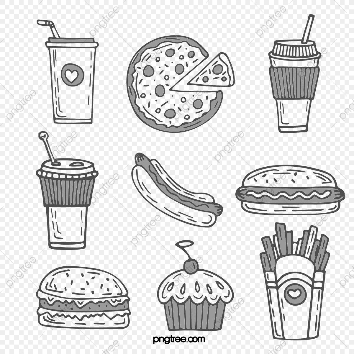 Western Fast Food Delicacies Black And White Line Sketch