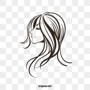 creative hand drawn lines black curly woman side face, Side Face, Woman, Curly Hair PNG and PSD