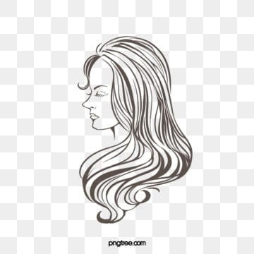 creative hand drawn lines brown curly woman side face, Side Face, Woman, Curly Hair PNG and PSD