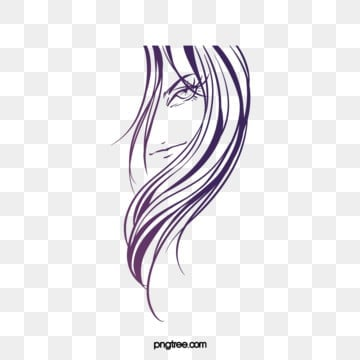 creative hand drawn lines purple curly woman side face, Creative, Hand Painted, Line PNG and PSD