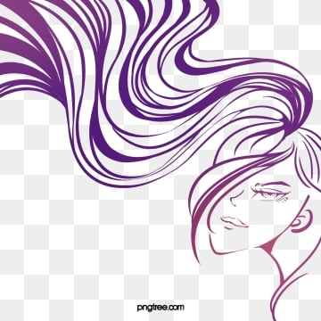 creative hand drawn lines purple curly woman side face, Side Face, Woman, Curly Hair PNG and PSD