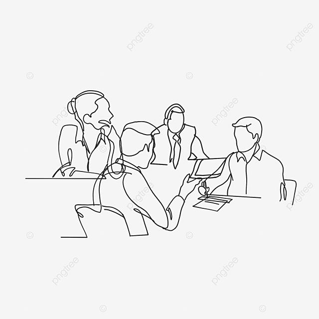 Desenhos Animados Negocios Conversa Trabalho Cooperacao Linha