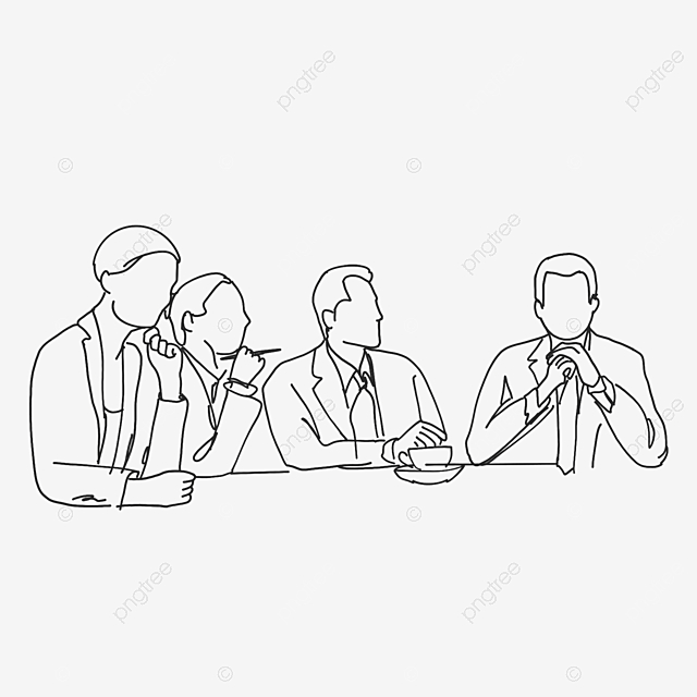 Cartoon Office Lineart Meeting Scene Illustration Line Office Jobs Png Transparent Clipart Image And Psd File For Free Download