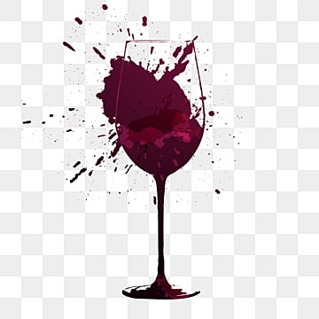 cartoon splattered red wine glass, Goblet, Purplish Red, Brush Strokes PNG and PSD