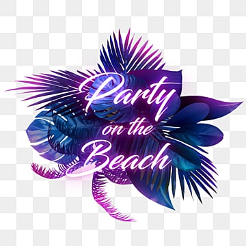 creative neon word leaf effect design, Tropic, The Neon Lights, Violet PNG and PSD