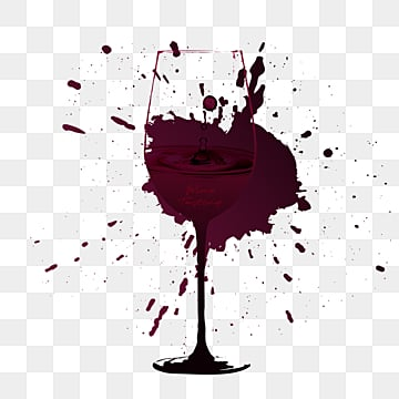 fuchsia hand painted red wine, Goblet, Ink, Edge Marking PNG and PSD