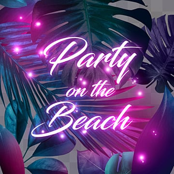 night neon leaf texture element, Party, The Neon Lights, Summer PNG and PSD