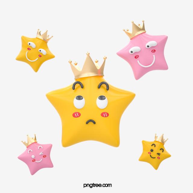 Yellow Five Pointed Star Stereo Emoji Pack, Facial Emoji