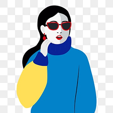 blue yellow vintage fashion style long hair female element with sunglasses, Female Avatar, Young Women, Independent Woman PNG and PSD