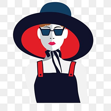 red black retro fashion style short hair female elements with sunglasses, Independent Woman, Female Avatar, Beautiful PNG and PSD