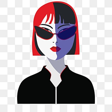 red black retro fashion style sunglasses short hair female elements, Independent Woman, Sunglasses, Female Avatar PNG and PSD