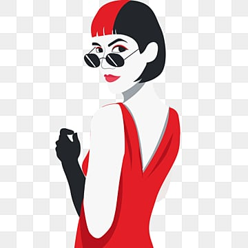 red black retro fashion style sunglasses short hair female elements wearing gowns, Young Women, Independent Woman, Female Avatar PNG and PSD