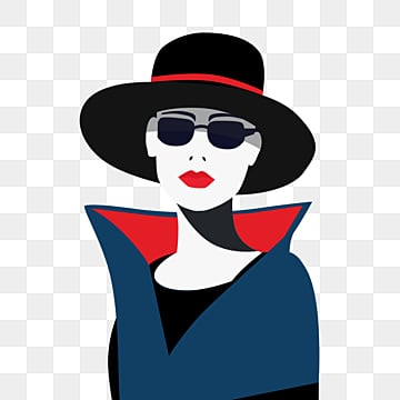 red black retro fashion style with sunglasses cool female elements, Beautiful, Independent Woman, Female Avatar PNG and PSD