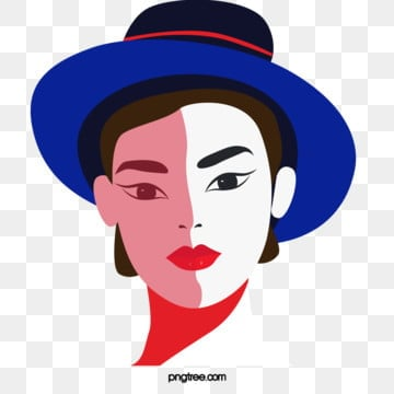 short black hair female elements in blue black retro fashion style top hat, Female Avatar, Independent Woman, Young Women PNG and PSD