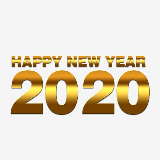 Golden Style Happy New Year 2020 Luxurious Gold Elegant Text