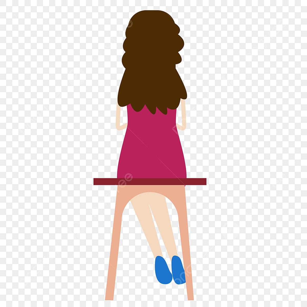 فتاة الموضة منظر الفتاة الخلفي مقعد فتاة فتاة الموضة