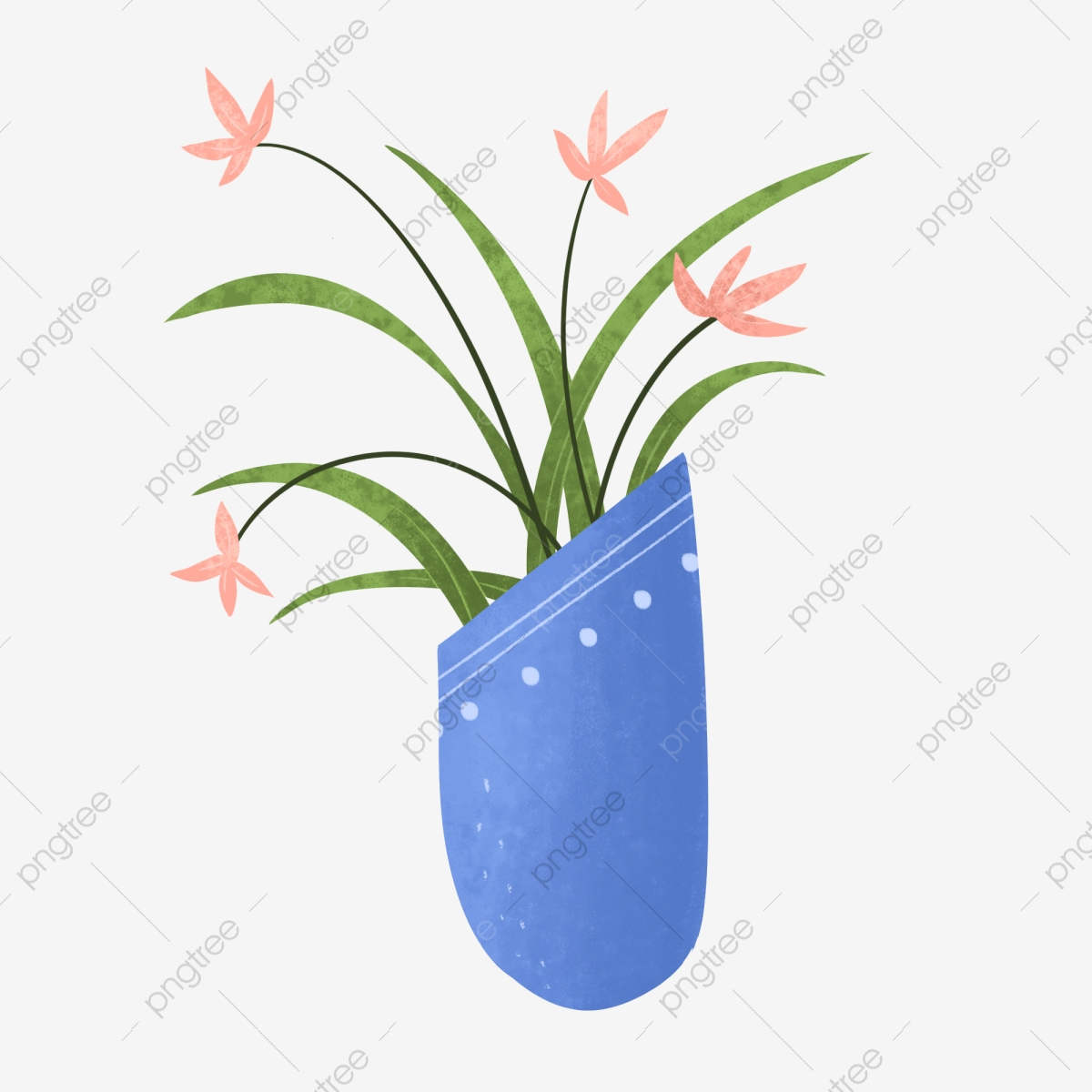 Blue Beveled Simple Orchid Bonsai Orchid Flower Blue Png Transparent Clipart Image And Psd File For Free Download